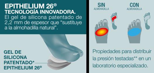 Distribución de la presión y disminución del dolor en planta del pie con gel de silicona