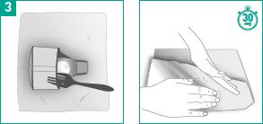 Sacar el corrector de juanete del agua con un tenedor y secarlo
