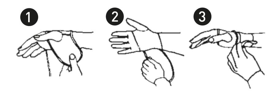 Muñequera Metacarpiana de Neopreno Farmalastic. Colocación en ambas manos.