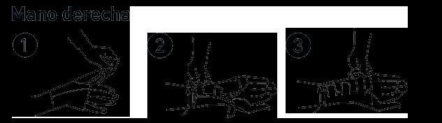 Muñequera Metacarpiana. Instrucciones de colocación en la mano derecha