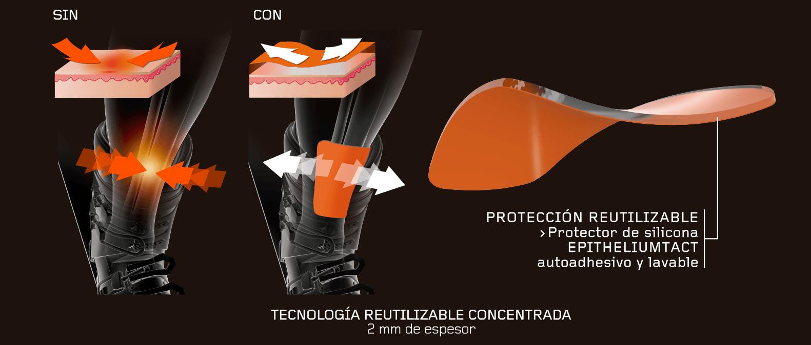 Protectores tibiales de silicona reutilizables. Autoadhesivos y lavables